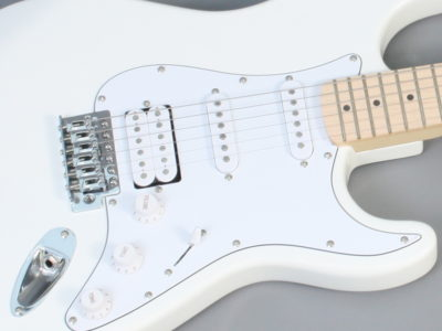 Electric Guitar Strat style Freya ST-2H Olympic White Maple fretboard