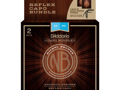 Acoustic Guitar Strings D'Addario NB1253 Nickel Bronze (2 Pack) with Reflex Capo