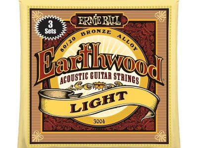 Ernie Ball acoustic guitar strings Earthwood 3-pack 3004 Light 11-52